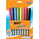 Bic Usa BICGPMAP81 Bic Mark It Permanent Markers 8 Ct - Fine Point Assorted Colors