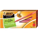 Bic USA BICGSM11RD Bic Stick Pens Medium Red 12/Pk