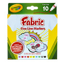 Crayola BIN588626 Crayola Fine Line Fabric Markers - 10 Colors