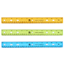 Charles Leonard CHL77336 Translucent 12In Plastic Ruler Asst - Colors