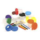 Chenille Kraft CK-5104 Paint Cups & Brushes Set 10 Cups W/ 10 Color Coordinated Brushes
