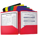 C-Line Products CLI33930 Bx Of 36 Two Pocket Poly Portfolios - Three Hole Punch Assorted Colors
