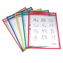 C-Line Products CLI40620 Reusable Dry Erase Pockets 25/Box Assorted Primary 9 X 12