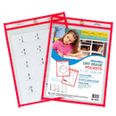 C-Line Products CLI40814 C Line Reusable 9X12 Dry Erase - Pocket Red Neon