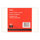 Mead Products MEA63460 Cards Index Ruled 4 X 6 50 Ct