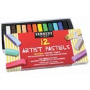 Sargent Art SAR224112 12Ct Assorted Color Artists Chalk - Pastels Lift Lid Box