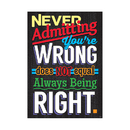 Trend Enterprises T-A67049 Never Admitting Youre Wrong Poster