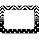 Teacher Created Resources TCR5548 B&W Chevron And Dots Name Tags