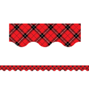 Teacher Created Resources TCR5658 Red Plaid Scalloped Border Trim