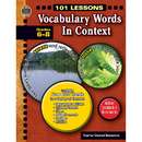 Teacher Created Resources TCR8143 101 Lessons Vocabulary Words In Context Gr 6-8