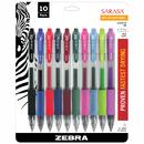 Zebra Pen ZEB46881 Sarasa 10Pk Asstd Gel Retractable Roller Ball Ink Pens With Case