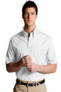 Edwards Garment 1230 Poplin Shirt - Men's Easy Care Poplin Shirt (Short Sleeve) - 65% Poly/35% Cotton