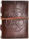 AzureGreen BBBC361 Pentagram leather blank journal w/ cord