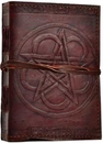 AzureGreen BBBCPEN Pentagram leather blank book w/ cord
