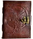 AzureGreen BBBL276 Fairy Moon leather blank book w/ latch