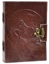 AzureGreen BBBL431 Wolf Moon leather blank book w/ latch