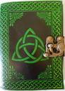 AzureGreen BBBL721 black/ green Triquetra leather blank book w/ latch