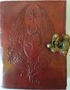 AzureGreen BBBL723 Moon Goddess leather blank book w/ latch