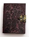 AzureGreen BBBL803 Wolf & Tree of Life leather blank book w/ latch