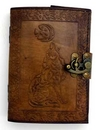 AzureGreen BBBL835 Celtic Wolf & Moon leather blank book w/ latch