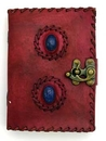 AzureGreen BBBL850 2 Lapis Stones leather blank book w/ latch