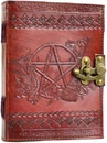 AzureGreen BBBLP449 Pentagram leather blank book w/ latch