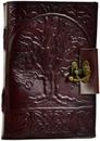 AzureGreen BBBLT282 Tree of Life leather blank book w/ latch