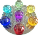 AzureGreen FC55CHA7 55mm 7 Chakra Flower of Life set Crystal balls