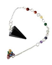 AzureGreen GP76TOUB Tourmaline, Black 7 Chakra 6 sided pendulum