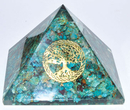 AzureGreen GPYOCT80 80mm Orgone Chrysocolla & Tree of Life pyramid
