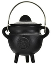 AzureGreen ICBR82 Pentagram Cast Iron Cauldron w/ Lid 2 3/4