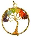 AzureGreen J7TRELG 7 Chakra Tree of Life pendant gold