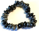 AzureGreen JBTSFO Snowflate Obsidian gemstone bracelet stretch
