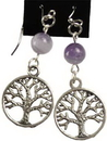 AzureGreen JETAME Amethyst Tree of Life earrings