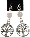 AzureGreen JETRQZ Rose Quartz Tree of Life earrings