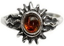 AzureGreen JR30AB8 Amber Sun Ring Size 8