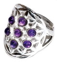 AzureGreen JRSFLOA 20mm Flower of Life Amethyst adjustable ring