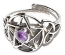 AzureGreen JRSPENTA Pentacle amethyst adjustable ring