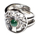 AzureGreen JRSTREM Tree malachite adjustable ring