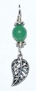 AzureGreen JSPLEAAG Leaf pendant with green aventurine bead