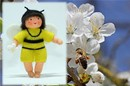 Eco Flower Fairies Bee Baby (bendable hanging felt doll, with onesie)
