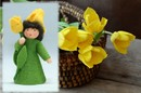 Eco Flower Fairies Tulip Fairy (standing felt doll, holding flower, yellow)