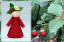 Eco Flower Fairies Wild Strawberry Fairy (standing felt doll, flower hat)