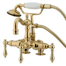 Kingston Brass CC1013T2 Wall Mount Clawfoot Tub Filler with Hand Shower, Polished Brass