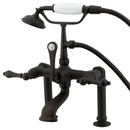 Kingston Brass CC103T5 Deck Mount Clawfoot Tub Filler with Hand Shower, Oil Rubbed Bronze