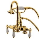 Kingston Brass CC15T2 Deck Mount Clawfoot Tub Filler with Hand Shower, Polished Brass