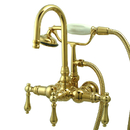 Kingston Brass CC7T2 Wall Mount Clawfoot Tub Filler with Hand Shower, Polished Brass