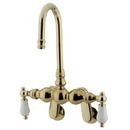 Kingston Brass CC83T2 Wall Mount Clawfoot Tub Filler, Polished Brass