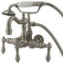Elements of Design DT10078AL Wall Mount Clawfoot Tub Filler with Hand Shower, Satin Nickel