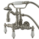 Elements of Design DT10078CL Wall Mount Clawfoot Tub Filler with Hand Shower, Satin Nickel